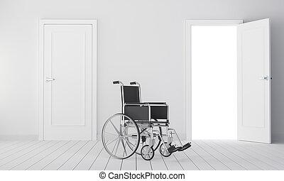 Wheelchair in room with two door