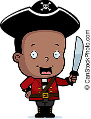 Pirate Child - A happy cartoon child pirate holding a sword.
