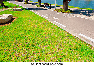 Bicycle Track along the Yarkon river in Tel Aviv, Israel
