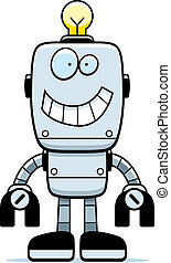 Robot Smiling - A happy cartoon robot standing and smiling