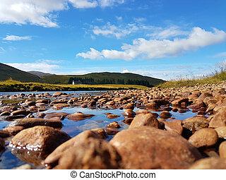 Riverbed - River Spey at Melgarve, Scottish highlands