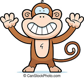 Monkey Smiling - A happy cartoon monkey standing and...