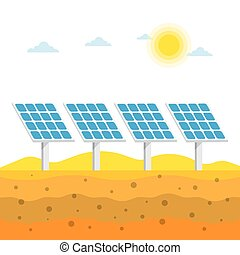 Solar panels in the desert, Alternative energy, vector...