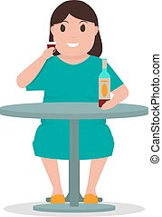 Vector cartoon woman alcoholic drink alcohol table - Vector...