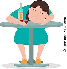 Vector cartoon drunken woman sleeping table