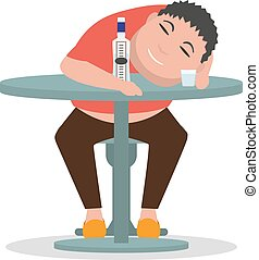 Vector cartoon drunken man sleeping on a table