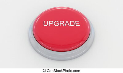 Pushing big red button with upgrade inscription. Conceptual...