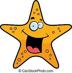 Starfish Smiling - A cartoon gold starfish smiling and...
