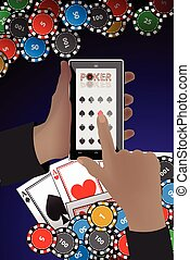 casino chips poker hands with a smart phone