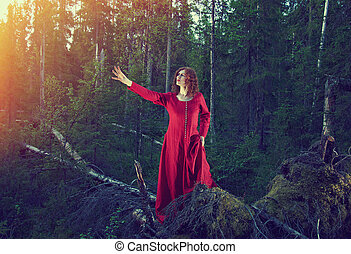 woman the mystical forest