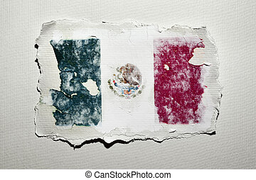 the flag of Mexico in an aged piece of paper on an off-white...