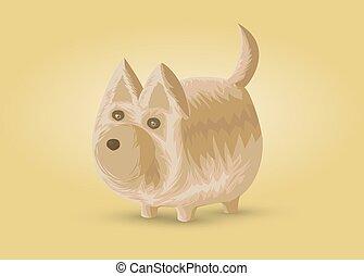 Small dog, vector illustration