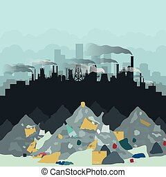 Dump in the background of the city. Vector illustration