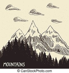 Mountain nature5 - Forest in the mountains. Vector...