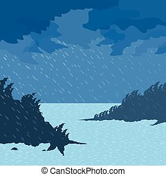 Rain on the sea - The rain and wind of the sea. Vector...