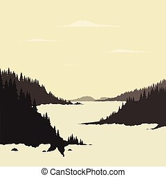 River mountain - Mountain river and forest. Vector...