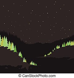 River mountain2 - Mountain river in the night. Vector...