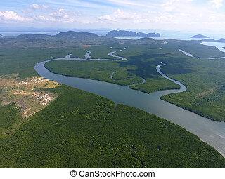 Aerial photo of estuaries and strait