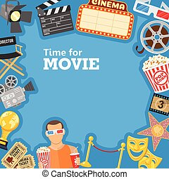 Cinema and Movie time frame with flat icons masks, 3D...