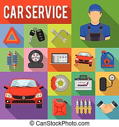 Car Service Set Vector Icons - Car Service Flat Icons Set...