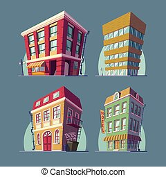 Set of vector isometric icons buildings in Cartoon style -...