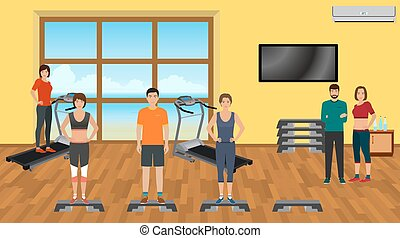 Fitness people in sports wear in the gym with training apparatus. Sport characters. Helthy lifestyle concept.