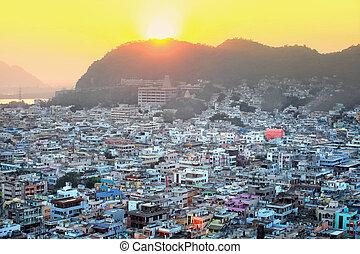 Aerial view of Vijayawada city in India