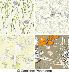 set of floral seamless wallpaper