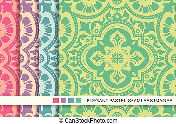 seamless pastel background set lace flower kaleidoscope