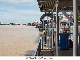 Old metal pontoon. - Old metal pontoon near the temple in...