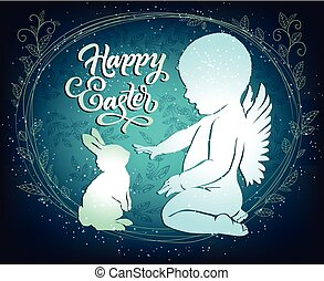 Easter card with angel and bunny