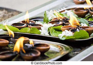 Gangaramaya Temple Prayer Offerings - Image of prayer...