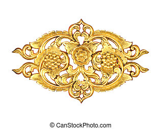 Pattern of wood carve gold paint for decoration on black...