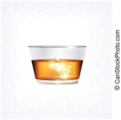 light, glass and ice - white background and the large glass...