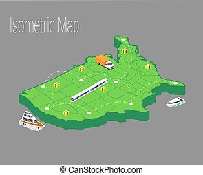 Map usa isometric concept.