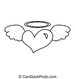 heart with angel wings isolated icon