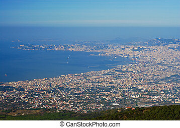 Aerial view of Naples city from Mount Vesuvius volcano