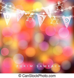 Festive colorful greeting card, invitation with string of lights, Jewish stars and party flags with Jewish letters meaning Purim., modern blurred vector illustration background.