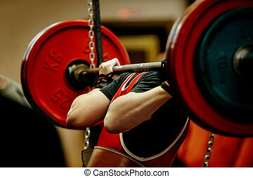 female powerlifter squat barbell for competition...