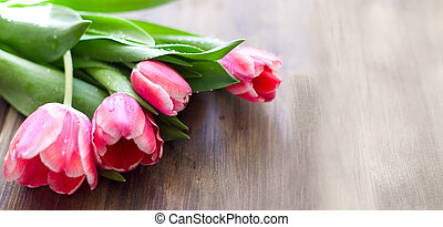 Pink tulips on a wooden background with water drops on stems...