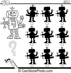 shadow and differences game - Black and White Cartoon...