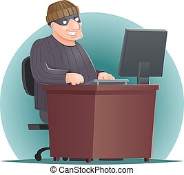 Criminal Hacker Adult Online Thief Computer Table Character...