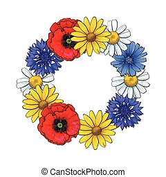 Round frame of wild, field flowers with place for text