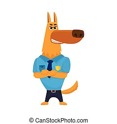 Police dog character standing with paws crossed across its...