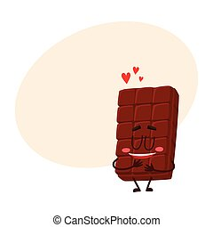 Cute chocolate bar character with funny face, melting from love