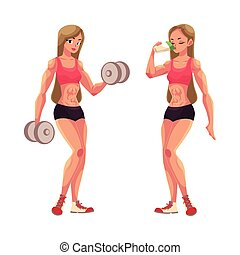 Woman bodybuilder working out with dumbbells and drinking...