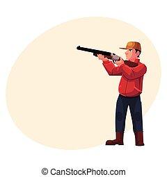 Single hunter aiming at his target with a gun, rifle,...