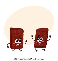 Two funny chocolate bar characters jumping from happiness and excitement