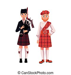 Two Scottish men in national clothes, tartan beret and kilt,...