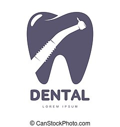 Dental care logo template with drill silhouette over tooth shape